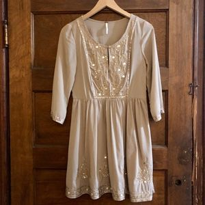 Free People Sequin Embroidered Party Dress Size 2